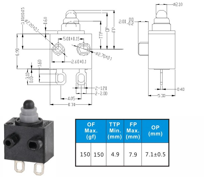 Greetech new design high temperature resistance subminiature micro switch