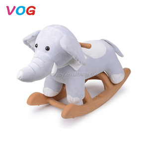 VOG factory supply children indoor balance horse toys custom wooden plush rocking horse