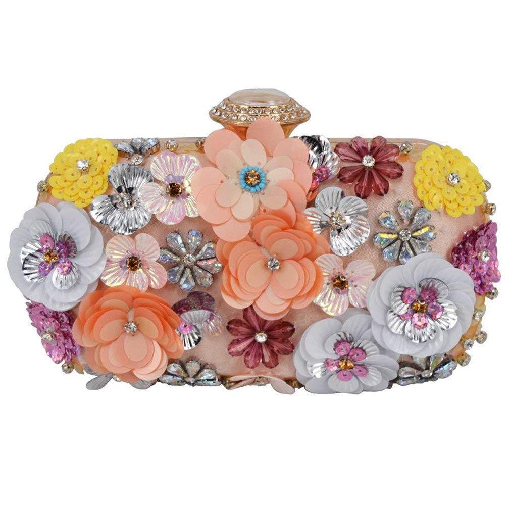 EKDJFG Lady Diamond Flower Evening Bag Wristlets Wedding Party Bridal Clutch Purse Chain Shoulder Bag Banquet Clutch 804
