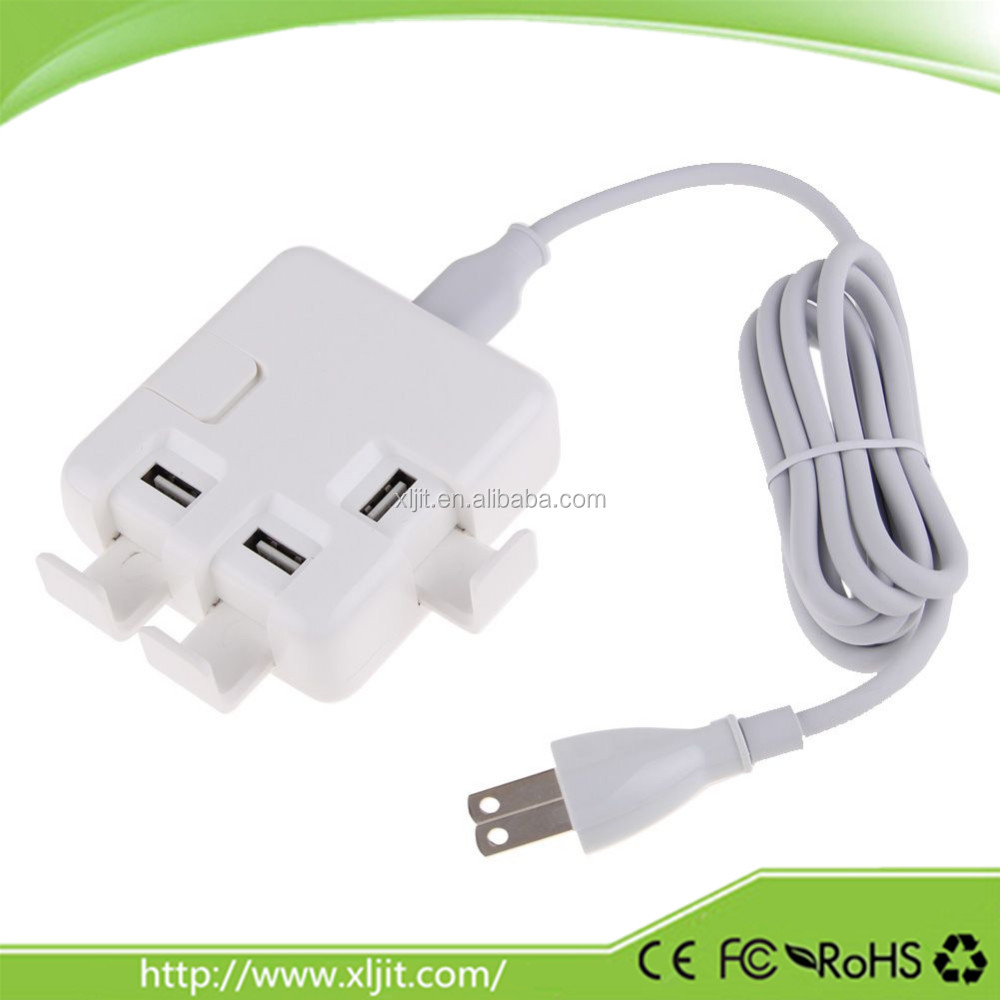 4 USB Ports 2 in 1 Rapid Charging Charger Power Adapter with Charging Cable