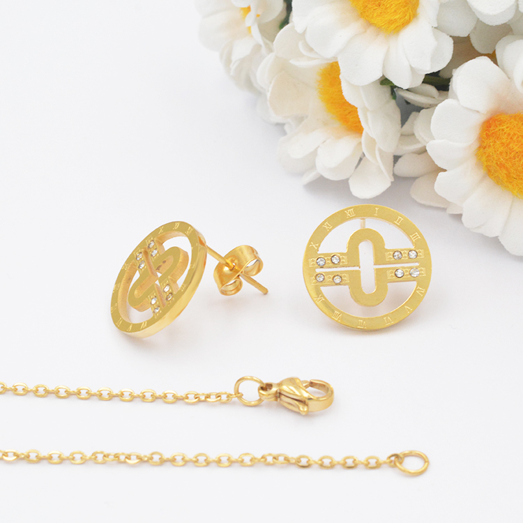 Cheap wholesale copper coin shape 3161 stainless steel jewelry copper jewelry colored rhinestone beautiful woman jewelry set