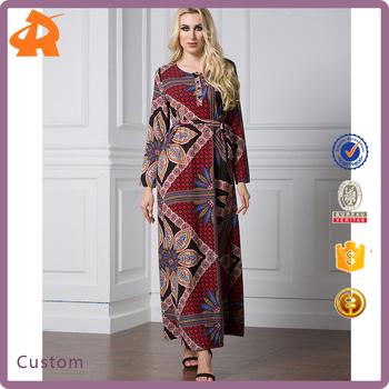 1e2a9a173a Custom Abaya Muslim Women Long Sleeve Dubai Dress Maxi Abaya Islamic  Clothing Loose Casual Robe Vintage
