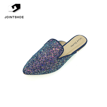 China wholesale fashion flat shoes with sequins summer lady slipper