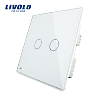 Livolo White Two Gang One Way with LED Indicator Wall Lighting Electrical Touch Switches VL-C302-61