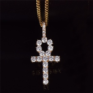 DY Wish Amazon hot hiphop jewelry plated 18k gold copper micro inlaid zirconia Anhe key cross pendant necklace