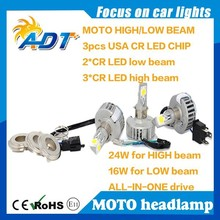 New CREES LED Motorcycle Headlight 24W Bi-Xenon White LED Conversion Kit Headlight High/Low 2500LM Lamb