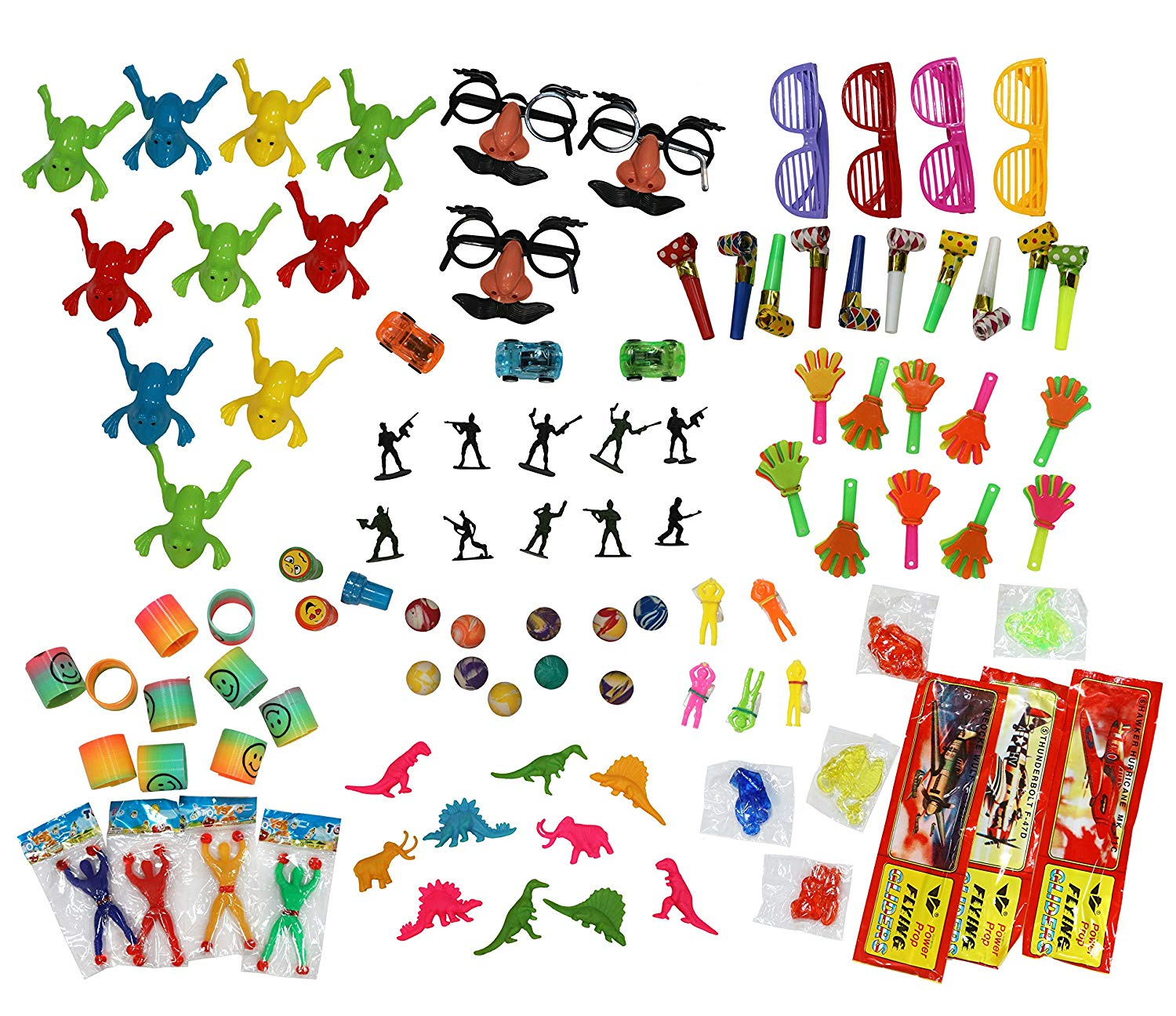 Treasure Box Party Toys (100-Piece Set) Fun Assortment for Kids | Birthday Parties, Carnival or Classroom Prize Boxes, Pinata Fillers | Boys and Girls | Small, Colorful