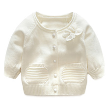 Hot plain blank baby solid color cardigan sweater simple girl knit cardigan
