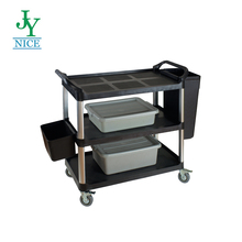 Factory Price 3 Tiers Plastic Service Cart Plastic Food Trolley Cart / Plastic Service Hotel Cart