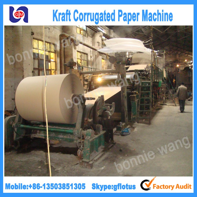 China Manufacturer 1092mm small capacity kraft paper making machine, raw material: waste paper, bagasse, bamboo, straw,