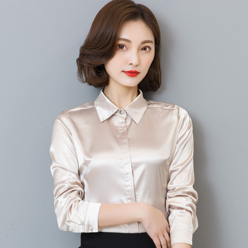 2018 New Ladies silk shirt slim women long-sleeved blouse and tops