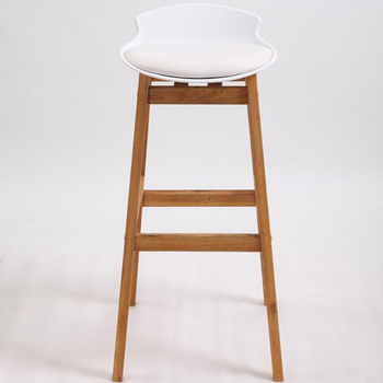 KD Design Multi Color High Leg Leather Cushioned Seat Natural Oak Wooden Frame Bar Stool Chair