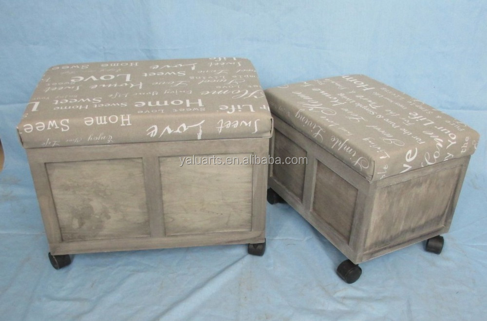 Easy to move wooden beside table stool padded storage foot stool with wheels H-15195