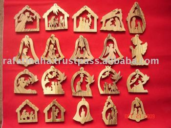 handmade olive wood religious christmas decorations