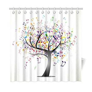 Get Quotations Colorful Musical Note Tree Waterproof Fabric Bathroom Bath Shower Curtain With 12 Hooks 72