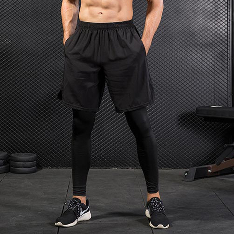 Popular Free Collocation Men Exercise Leggings Running Tight Trousers Soft Workout Sport Pants with Pockets