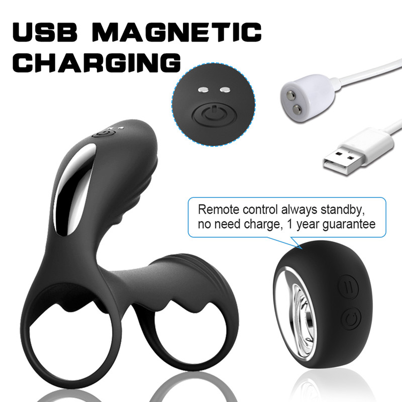 Remote Penis Massage Cage Ring G-Spot Clitoris Stimulation Cock Ring Massage Vibrators