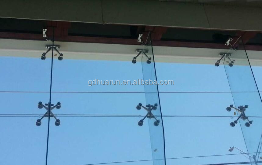 Spider Connection Glass : Fin spider glass system metal curtain support brackets