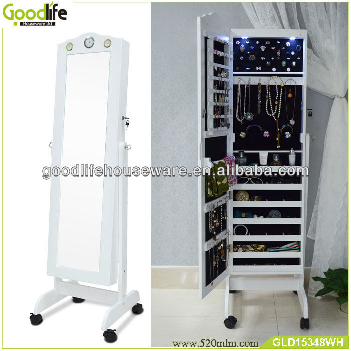 Goodlife Floor Mirror Jewelry Armoire Floor Mirror Stand With Led ...