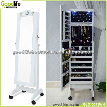 Goodlife Floor Mirror Jewelry Armoire Floor Mirror Stand With Led Light  Free Wheels