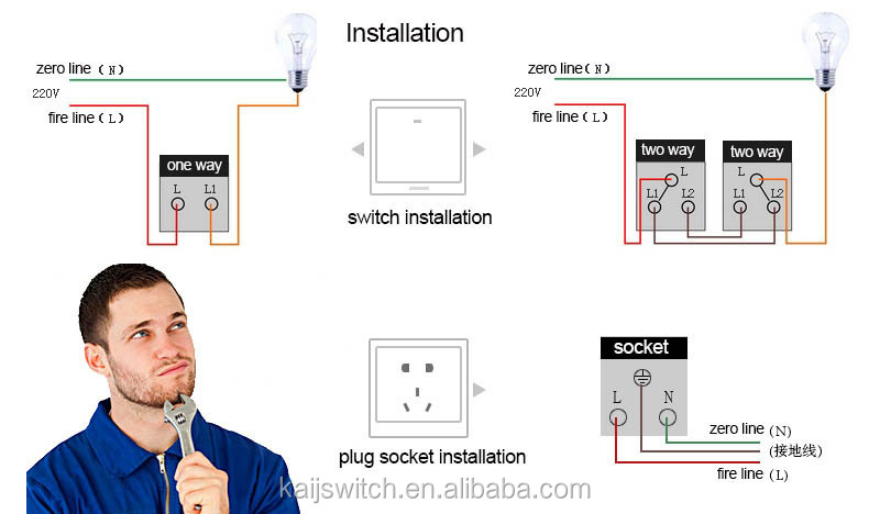 uk high quality house using electric,1 gang 1 way or 2 way switch, Wiring diagram