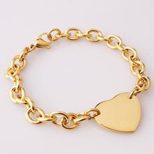 316L Stainless Steel Men Bracelet Gold Chain Bracelet With Heart Charm Custom Engravings Bracelet