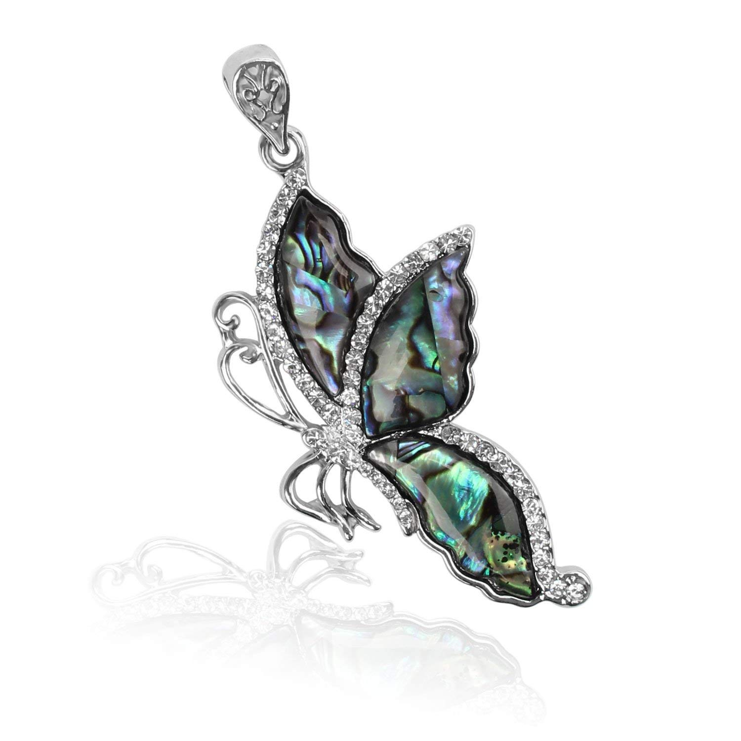 Wholesale 3 PCS Butterfly Shaped Charm Natural Abalone Shell Pendant with Silver Tone Pattern Bulk Charm for Jewelry Making