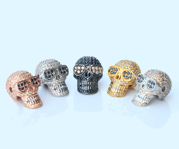 Sterling Silver 925 Metal Spacer Skull Beads