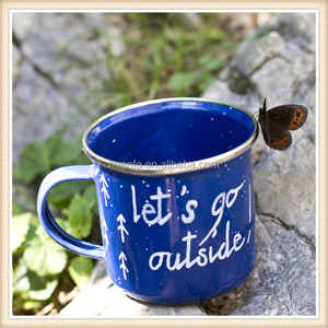 Outdoors 8cm 9cm 10cm enameled steel cup camping enamel mug with blue speckled