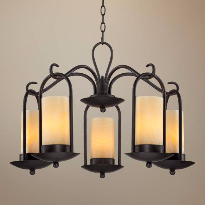 "530-35 Onyx Faux Stone Candle 30"" Wide Espresso Outdoor Chandelier"
