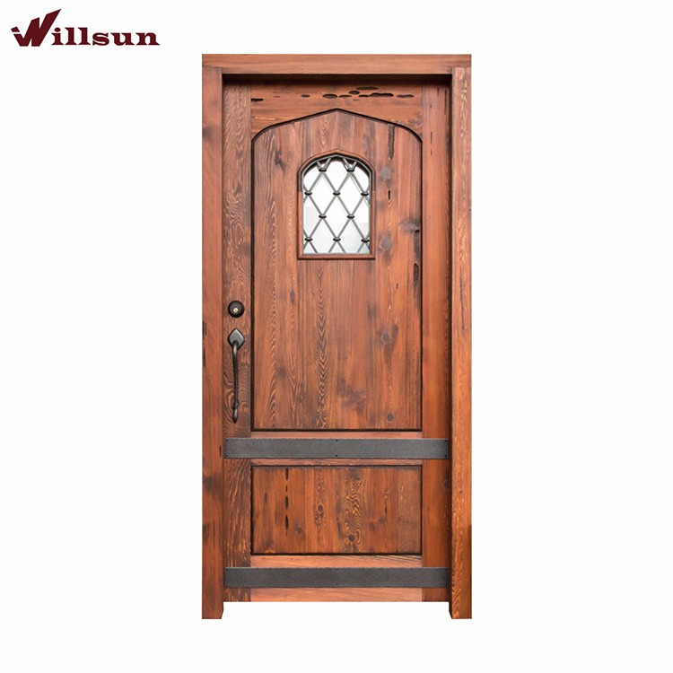 Competitive price wrought iron main door design front iron for Main gate wooden door design