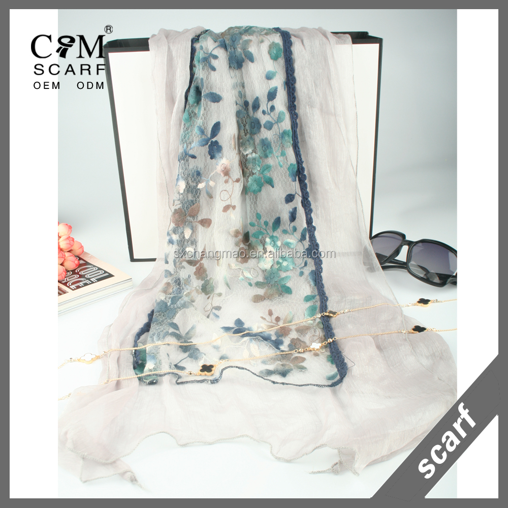 women's long style 3D embroidery lace fashion scarf