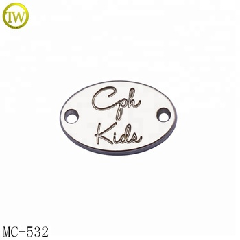 Custom oval shape metal logo plate clothing 2 holes metal tag for bikini