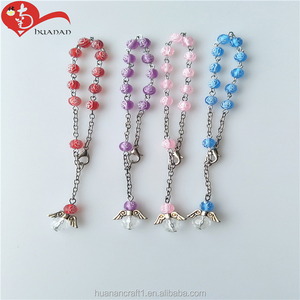 Religious Multi-color Plastic Beads Chain Rosary Bracelets For Souvenir Or Gift