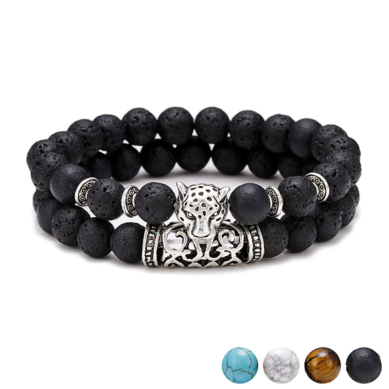 2pcs Handmade Natural Semi-precious Natural Tiger Eye Lion Head Charm Elastic Bead Bracelets Sets Jewelry