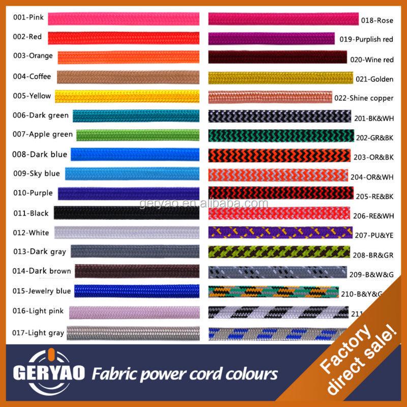 Colorful vintage tissu c ble couleur textile fil de - Norme couleur fil electrique ...