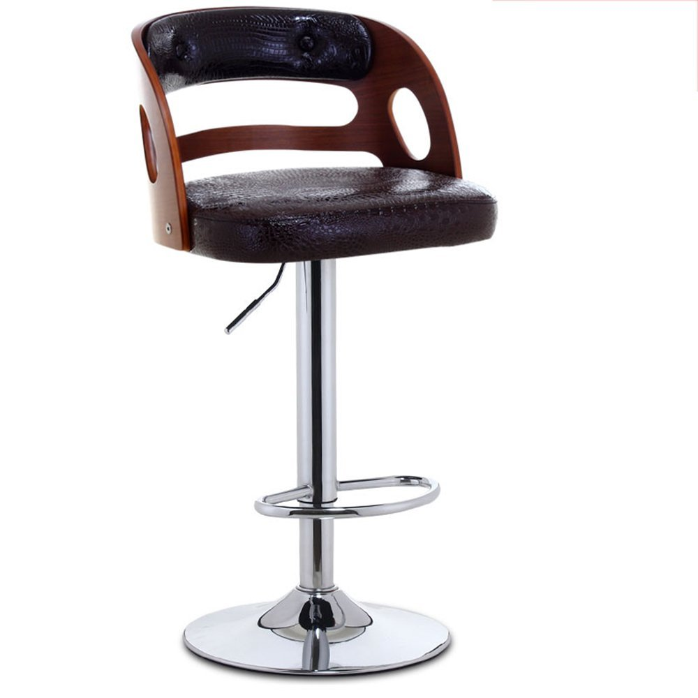 Solid wood backrest, PU leather paint, high stool, lift bar chair, solid wood bar stool ( Style : C )