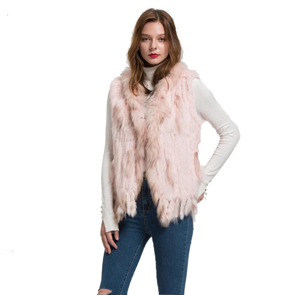 Professional Design Real Rabbit Fur Vest With Raccoon Fur Collar Knitted Fur Gilet Women Fashion Waistcoats