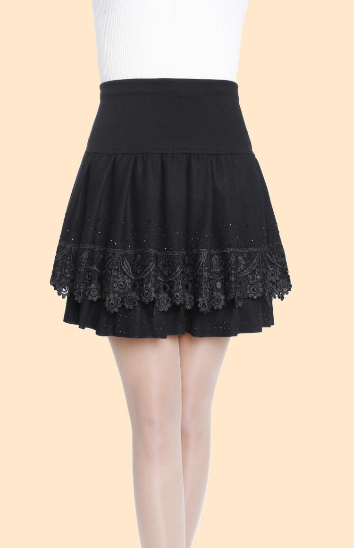 bc7a371e4a59e Get Quotations · Skirts Women Knee-Length Skirt Elastic Waist Casual Woolen Skirts  Plus Size High Waist Lace