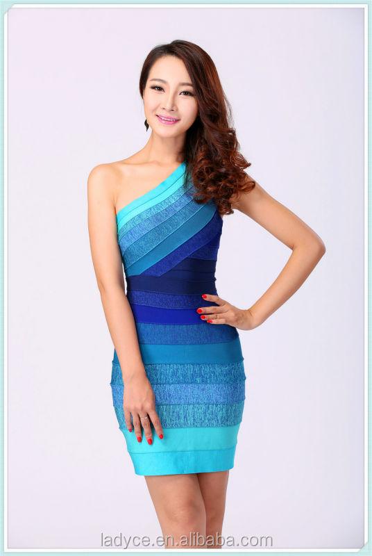 2014 One Shoulder Bright Blue Gradient Bandage Dress Dresses For ...