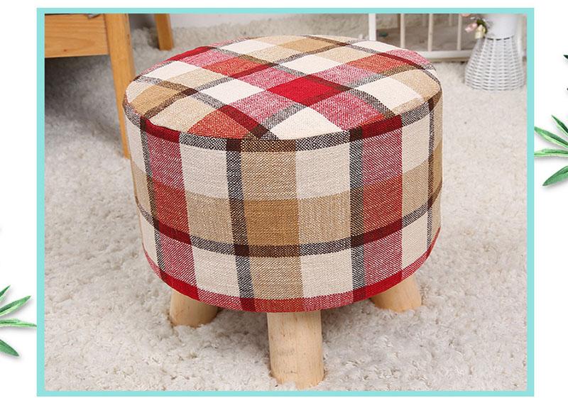 Wholesale OEM Rustic Lattice Polyester Footrest Kids  Wood Stool