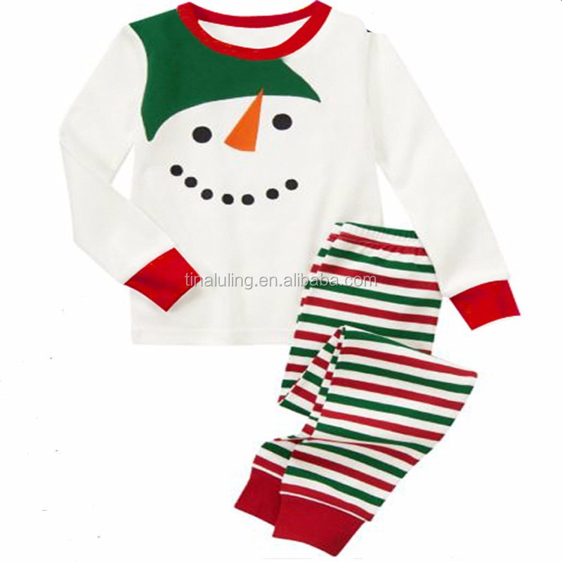 2015 New Children Christmas Pajama sets long sleeve girls/ boys snowman Stripe trousers suits