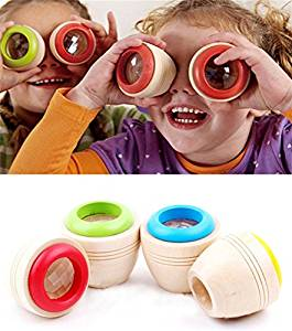 OWIKAR 2 Pack Wooden Educational Magic Bee Eye Effect Kaleidoscope Baby Kid Children Learning Puzzle Toy Gift