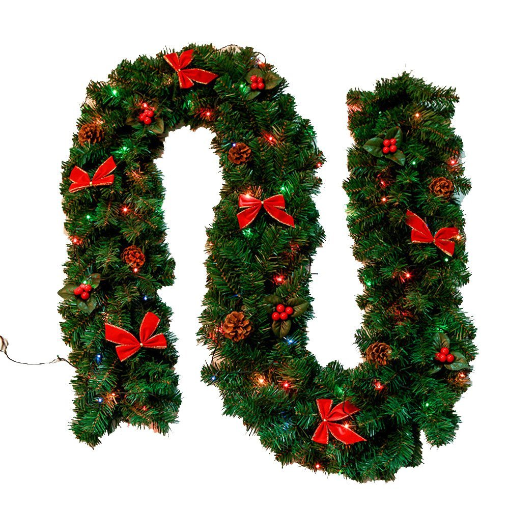 homeabc christmas garland led lighting with cones red berries 88 feet x 98 inch