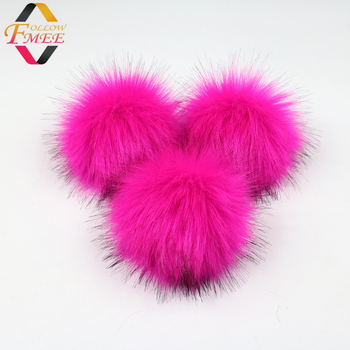 Rose red Faux fur pompom fake fur pom poms faux fox fur balls