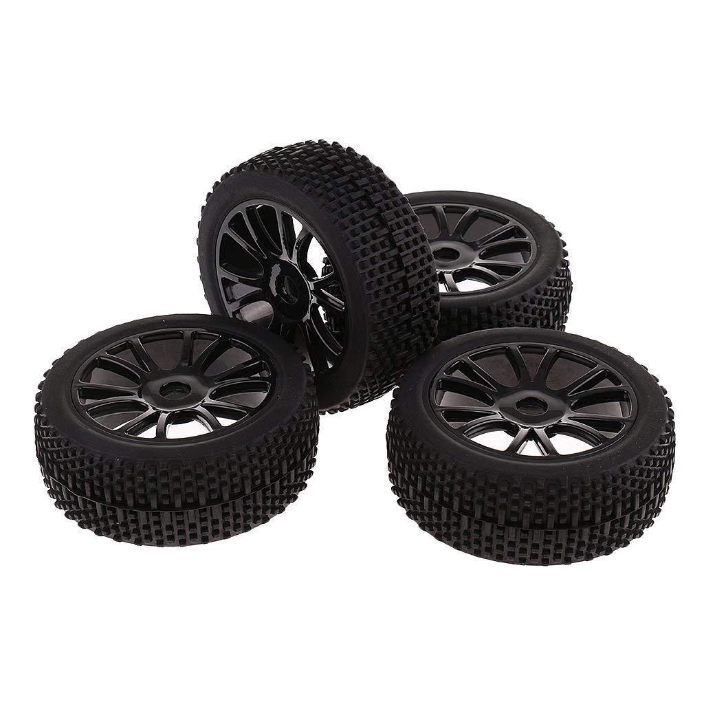 MonkeyJack 4pcs 17mm Hub Wheel Rims&Tires 1:8 Off-road RC Car Buggy Tyres for HSP HPI
