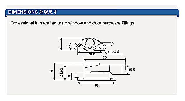 Security Zinc alloy Sliding moon Crescent Windows Locks