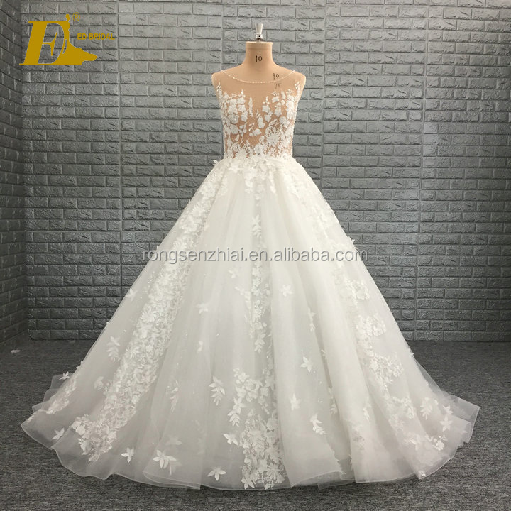 Ed Bridal Wedding Dress Boat Neck A Line Flower Lique With Beading And Crystals Lace