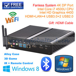 Factory wholesales notebook computer i7 Mini Computer Fanless PC HTPCwith Intel Core i7-4500U CPU HD4400 Graphics 4K Output