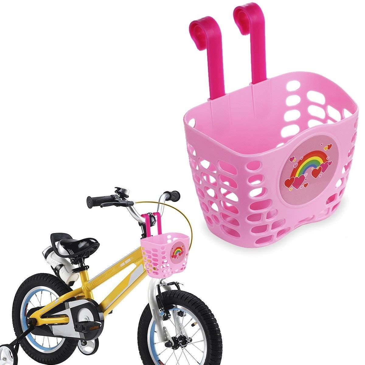 e0b85a892f9 Get Quotations · Mini-Factory Kid's Bike Basket Pink Cute Love Rainbow  Pattern Bicycle Handlebar Basket for Girls